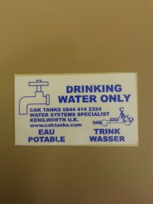 DRINKING WATER ONLY STICKER